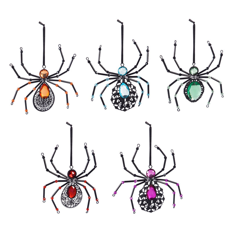 Metal Spider Ornament, Orange/Blue/Red/Purple/Green, 5 Assorted
