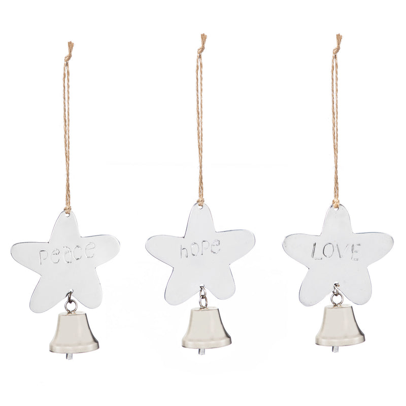 Metal Star with Bell Ornament: Love, Hope, Peace, 3 Assorted