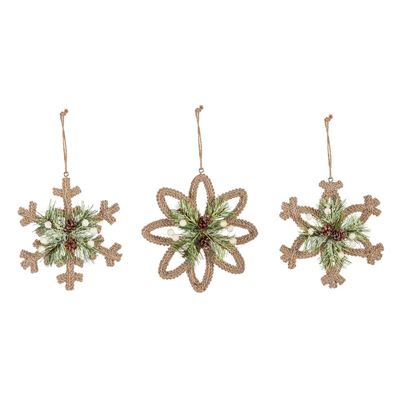 Wire Snowflake Ornament Wrapped with Jute, 3 Assorted, 6.5'' x 1.1'' x 6.5'' inches