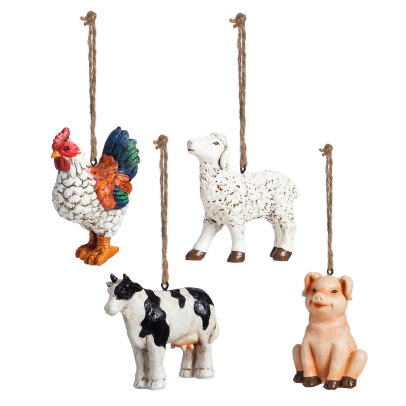 Polystone Farm Ornament, 4 ASST