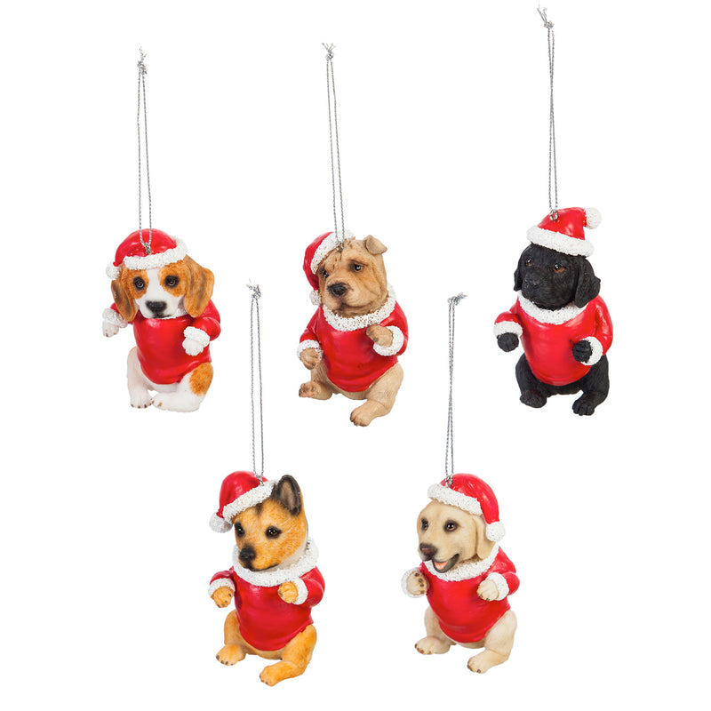 Polyresin Dog in Santa Suit Ornament, 5 Assorted, 3'' x 1.6'' x 3.5'' inches