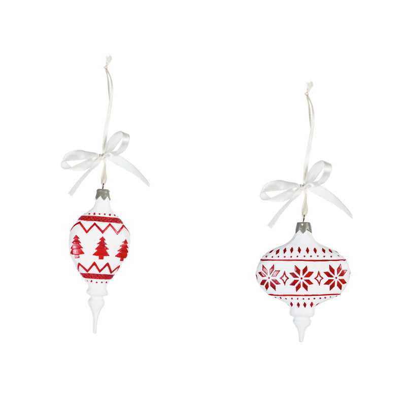Resin Red and White Festive Ornament, 2 Asst