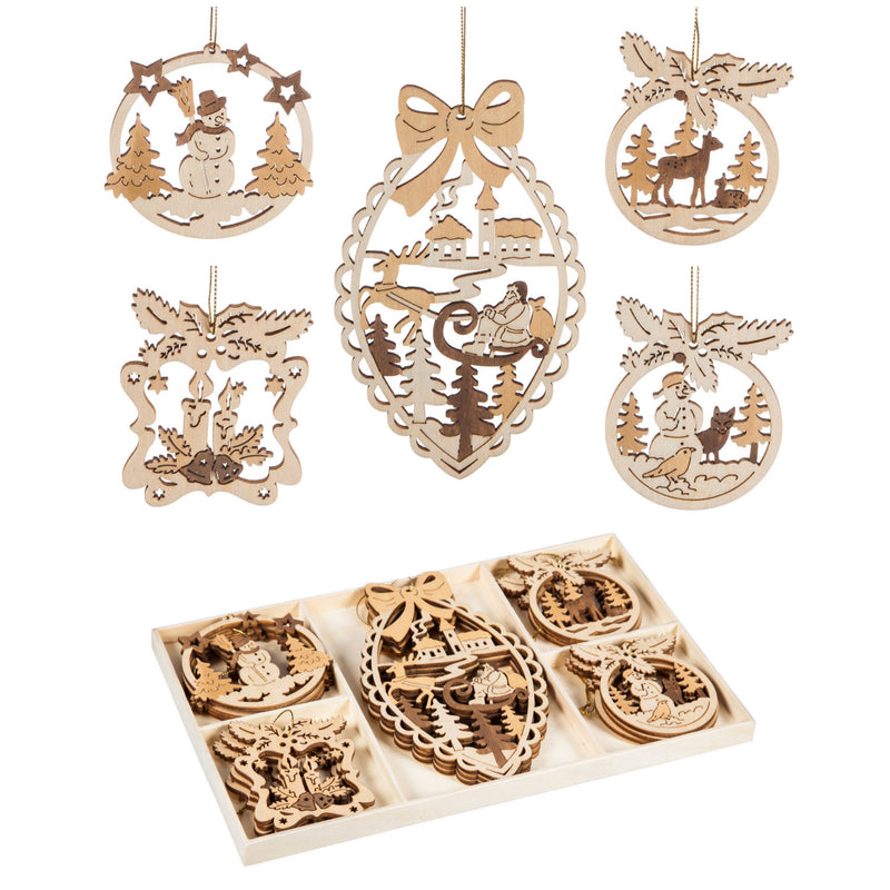 Evergreen Wood Woodland Scene Ornament Box Set, Set of 15, 11'' x 6.9'' x 0.5'' inches