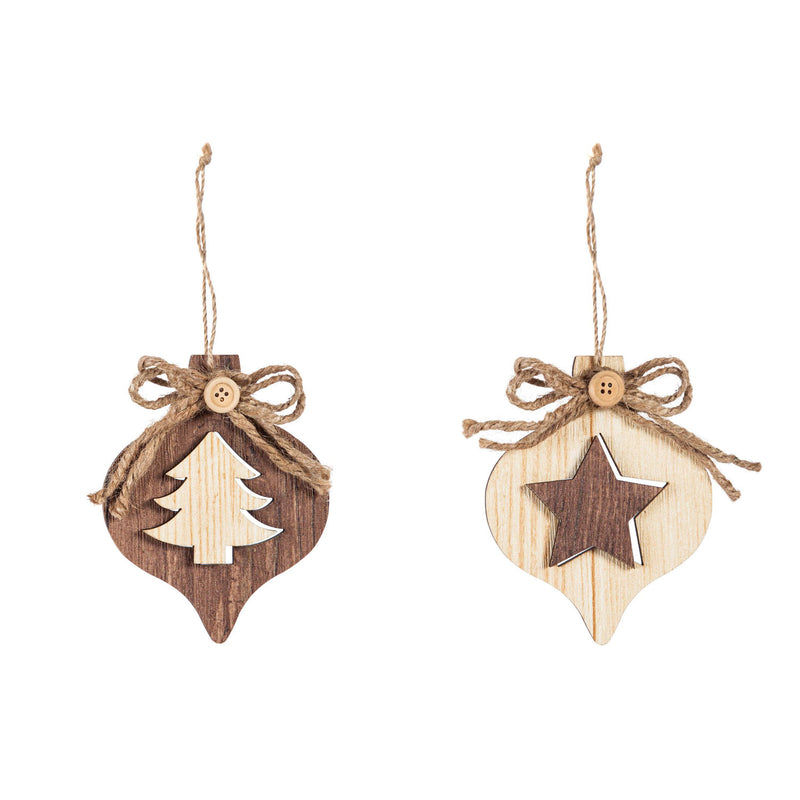 Wooden Teardrop Ornament, Tree/Star, 2 Assorted, 3.8'' x 0.7'' x 4.6'' inches