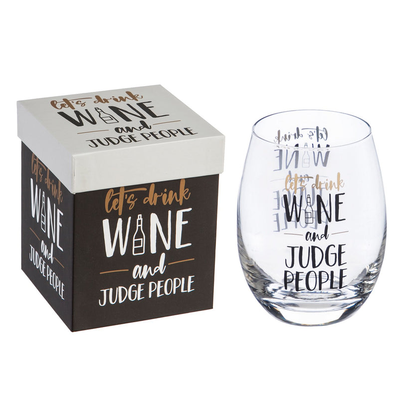Judge People Stemless Wine Glass - 4 x 5 x 4 Inches