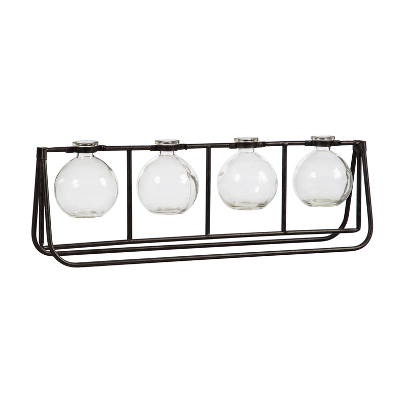 Glass Vases with Metal Rack, 20.1'' x 3.9'' x 6.7'' inches