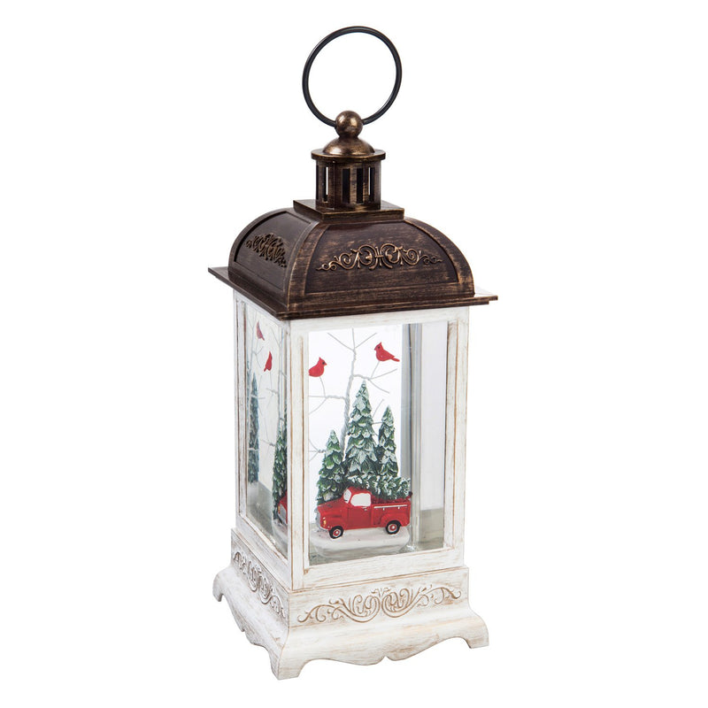 10'' Tall LED Lantern with Spinning Action and Timer Function Table Décor, Truck with Cardinals