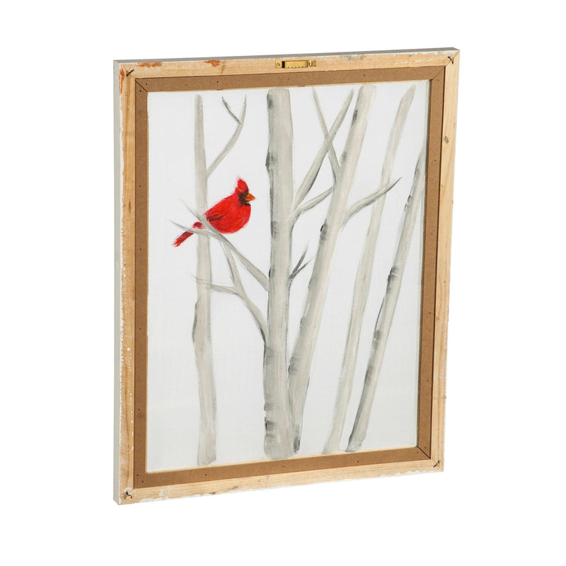 "Birch Trees with Red Cardinal Hand Painted Screen Wood Frame Wall Décor, 16""W x 20""H"