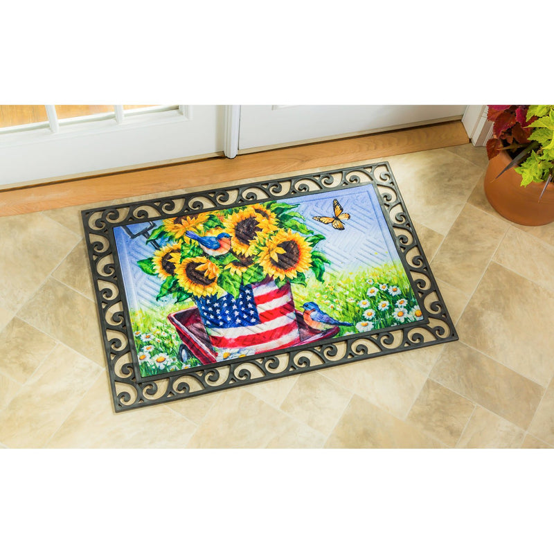 Evergreen Flag Beautiful Patriotic Sunflower Wagon Embossed Durable Welcome Mat - 30 x 18 Inches Fade and Weather Resistant Outdoor Doormat for Homes, Yards and Gardens