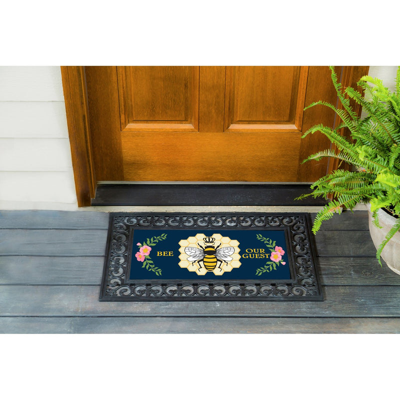 Evergreen Flag Bee Our Guest Sassafras Switch Mat 10 x 22 Inch Interchangeable Door and Floormat for Homes Gardens and Yards