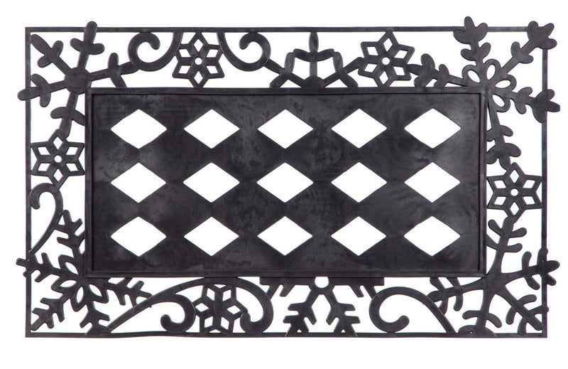 Evergreen Black Snowflakes Decorative Mat Tray, 18 x 30