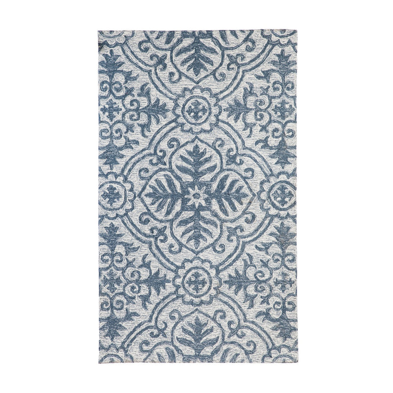"36""x60"" Indoor/ Outdoor Rug, Denim and Grey, 36'' x 60'' x 0.4'' inches"