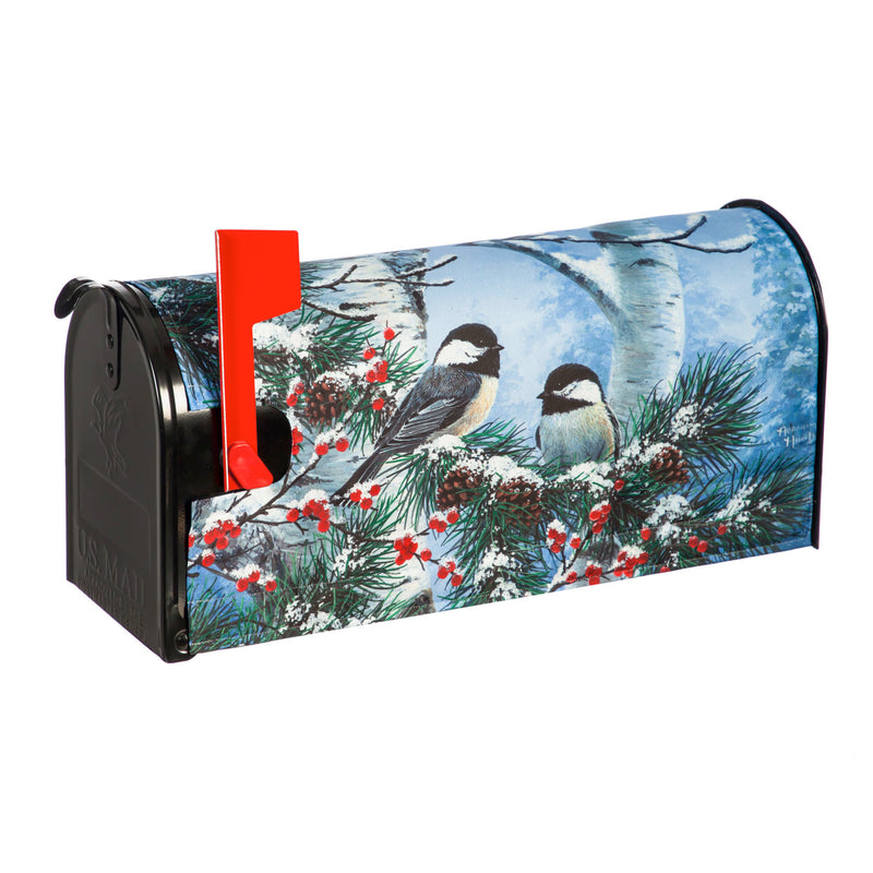 Evergreen Flag Indoor Outdoor Décor for Homes Gardens and Yards Winter Chickadee Friends Mailbox Cover