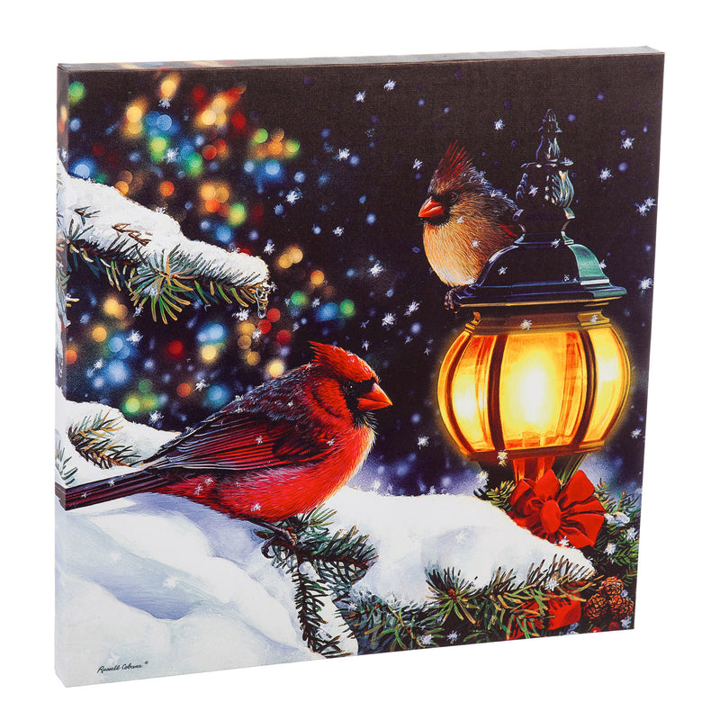"LED Canvas Wall Décor, 20""W x 20""H, Winter Light Cardinals & Lampost, 20'' x 1.5'' x 20'' inches"