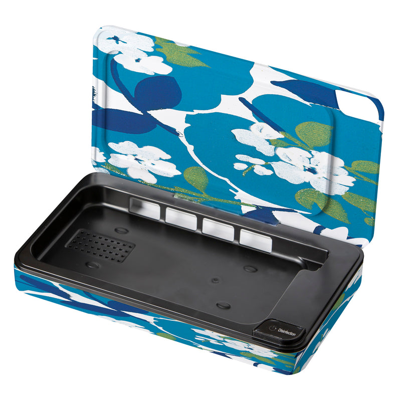 Evergreen UVC Light Sanitizer and Phone Charging Case, Blue Floral, 9.05'' x 1.78'' x 4.72'' inches