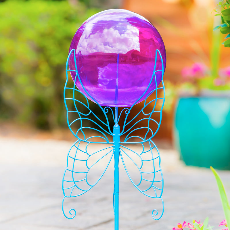 "Evergreen 28"" Gazing Ball Set,  Blue Butterfly, 9.8'' x 28'' x 11.5'' inches."