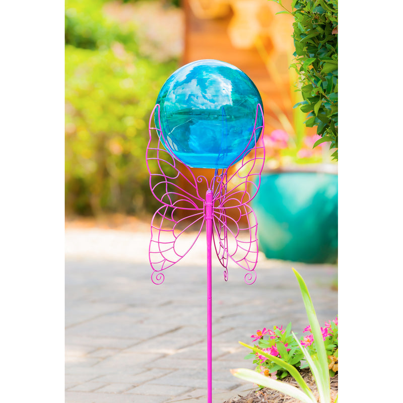 "Evergreen 28"" Gazing Ball Set,  Purple Butterfly, 9.8'' x 28'' x 11.5'' inches."