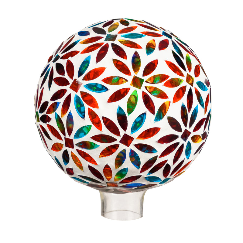 "Evergreen 8"" Mosaic Glass Gazing Ball, Bright Flowers, 7.9'' x 7.9'' x 9.8'' inches."