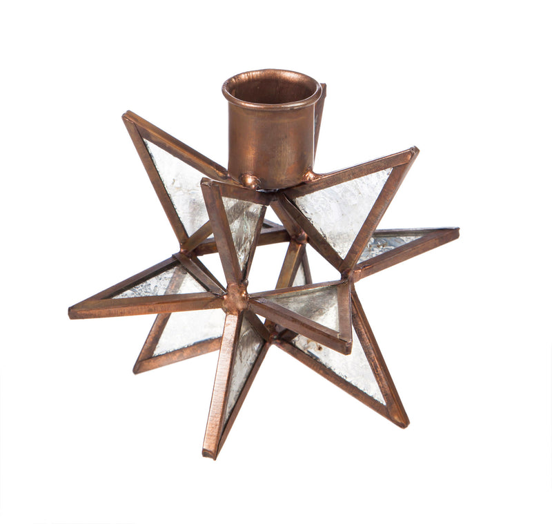 Evergreen Moravian Star Metal Taper Holder, Set of 2, Glass, 4'' x 4'' x 4'' inches