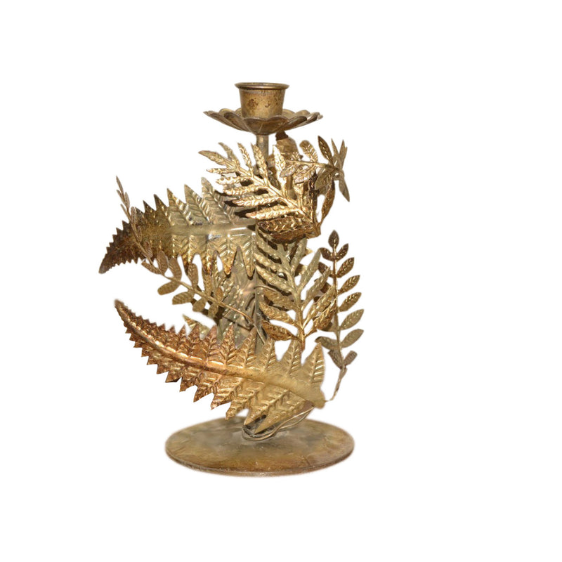 "8"" Wrapping Metal Leaves Taper Candle Holder"