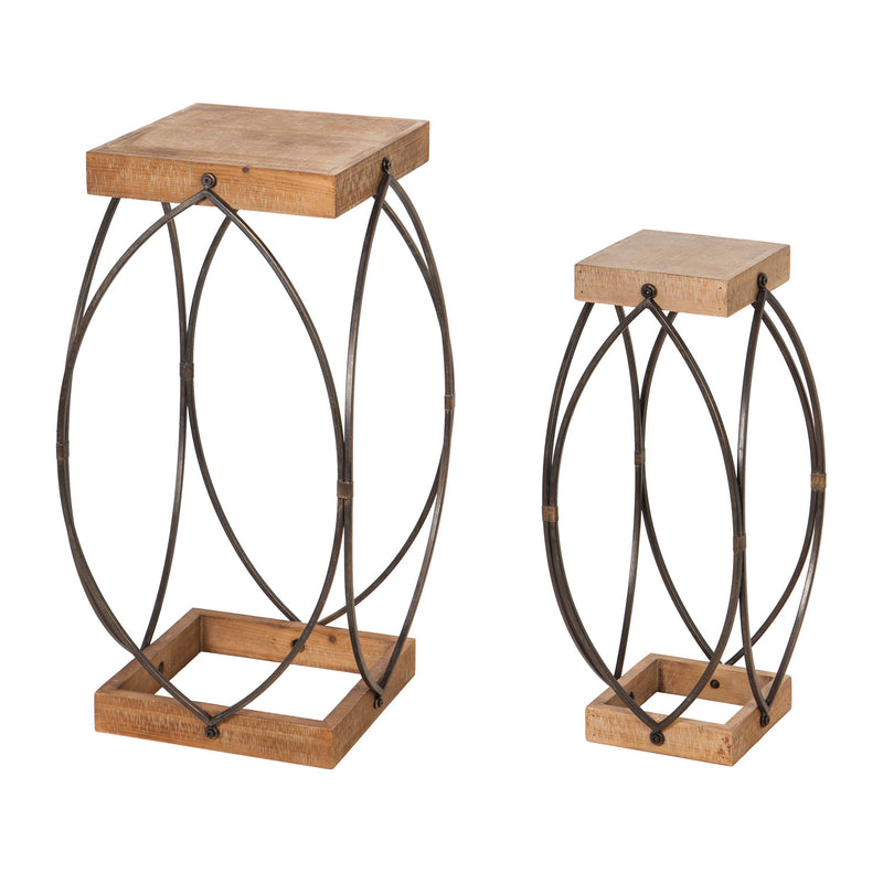 Evergreen Wooden Plant Stand with Metal Frame, Set of 2, 11.8'' x  11.8'' x 27.6'' inches.