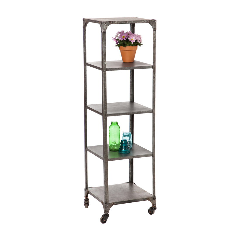 Evergreen 4 Shelf Metal Display Tower, 17'' x  17'' x 60.5'' inches.