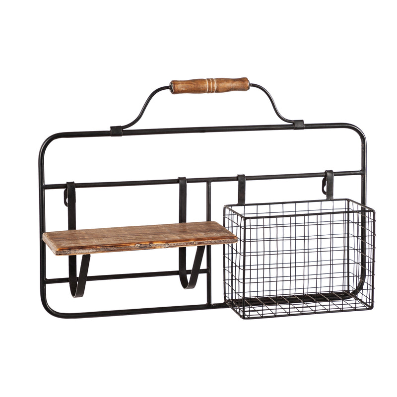 Metal and Wood Wall Organizer, 19'' x 4.5'' x 13'' inches