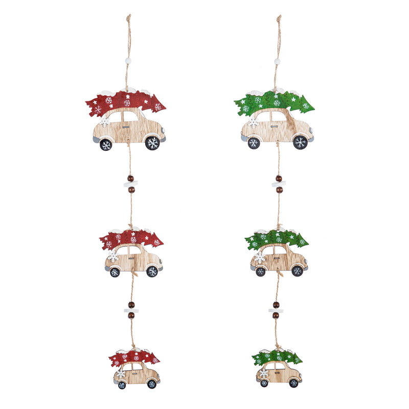 Wooden Car with Tree Garland, Red/Green, 2 Assorted, 3'' x 0.2'' x 23.6'' inches