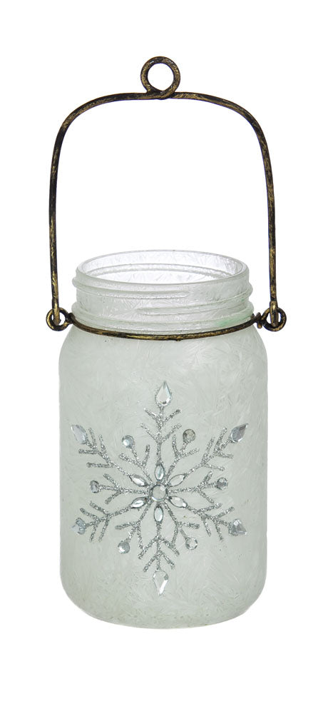 LED Lantern, Set of 2, Blue Floral, 5.5'' x 5.5'' x 10'' inches
