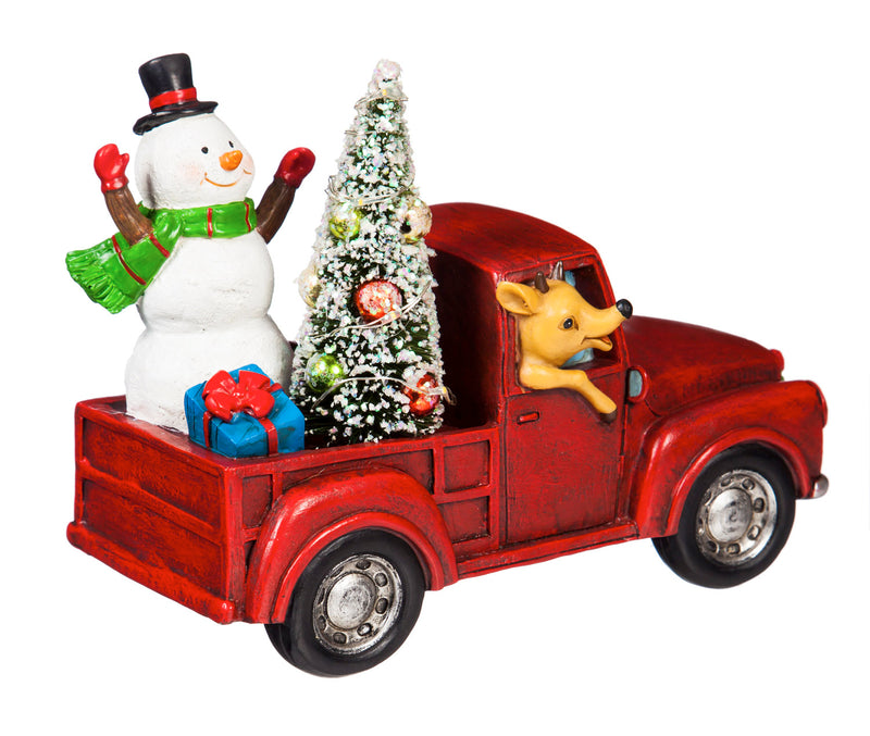 Evergreen Snowman in a Red Truck LED Décor, 7.9'' x 4.1'' x 6.5'' inches