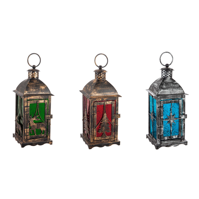 Glass Lantern, Green/Blue/Red, 3 Assorted, 4.8'' x 4.8'' x 11'' inches