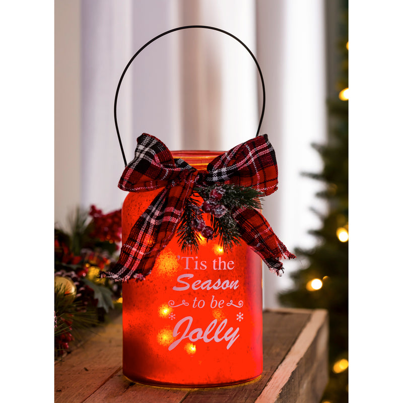 LED Jar with Plaid Ribbon, Pine, and Berries, 2 Assorted: Red/White