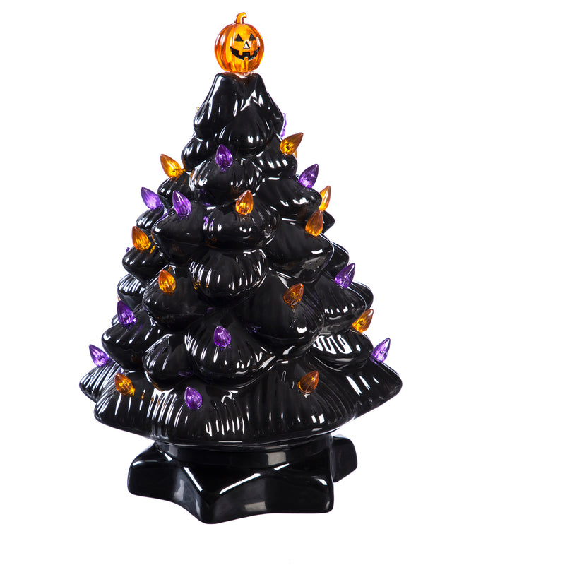 "14"" Halloween LED Ceramic Tree with Lights and Music, 8.3'' x 8.3'' x 14'' inches"