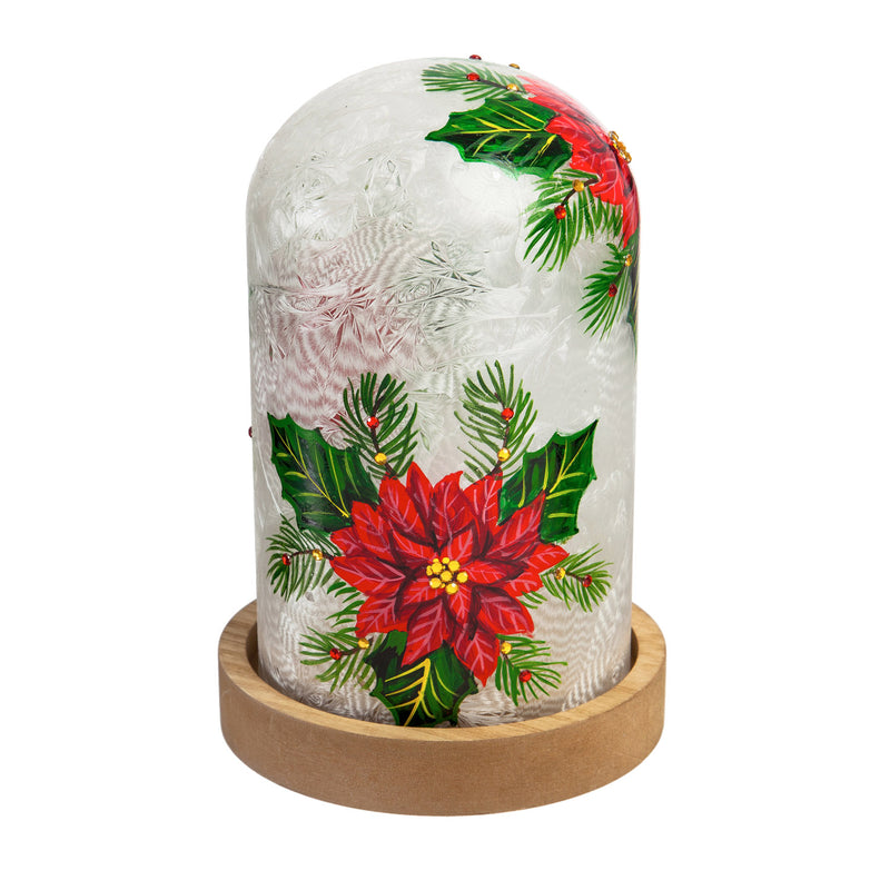 Glass Handpainted Poinsettia LED Cloche with Wooden Base, 5.7'' x 5.7'' x 8.3'' inches