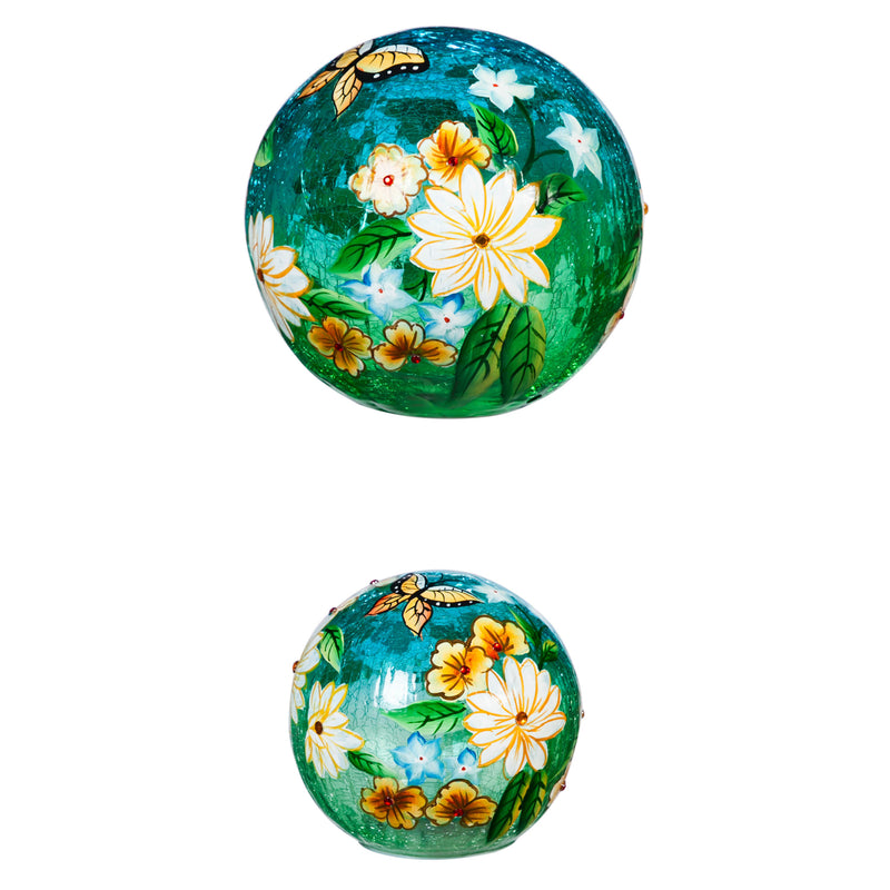 Glass Handpainted Floral Butterfly LED Globe with Crackle, Set of 2, 7'' x 7'' x 7'' inches