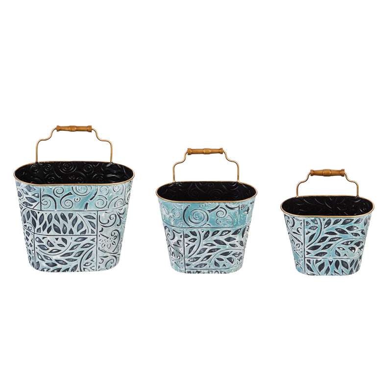 Painted Metal Wall Storage Set of 3, 12.6'' x 7.3'' x 14.6'' inches