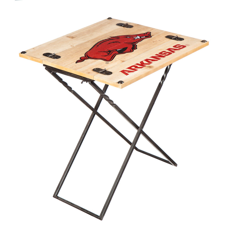 Evergreen Enterprises Folding Armchair Table, University of Arkansas, 19.9'' x  23.4'' x 19.9'' inches.