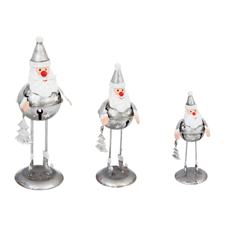 Metal Standing Santa Table Decor, Set of 3, 2.8'' x 2.8'' x 8.1'' inches