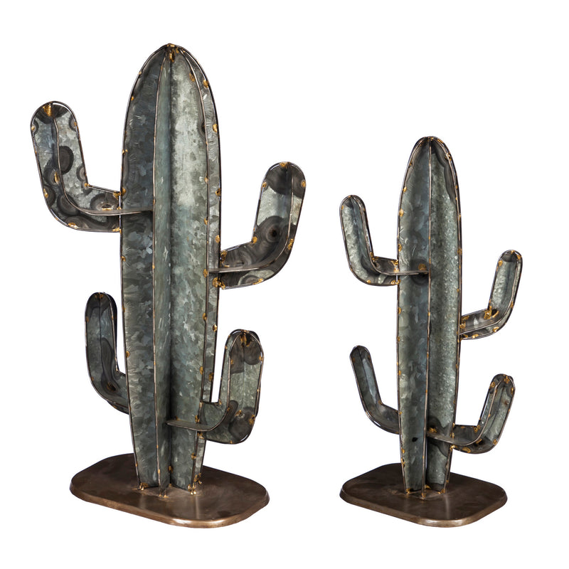 Galvanized Metal Cactus, Set of 2, 14'' x 11'' x 23'' inches