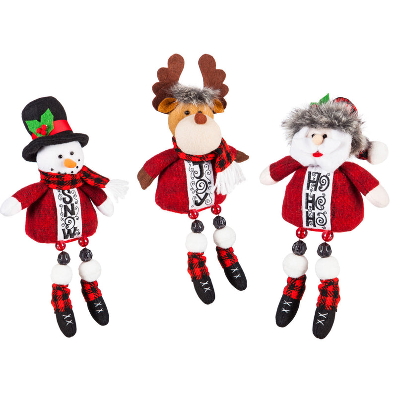 Evergreen Plush Sitting Long Legs Reindeer, Santa, & Snowman Decor, 3 Assorted, 4.5'' x 3'' x 8'' inches