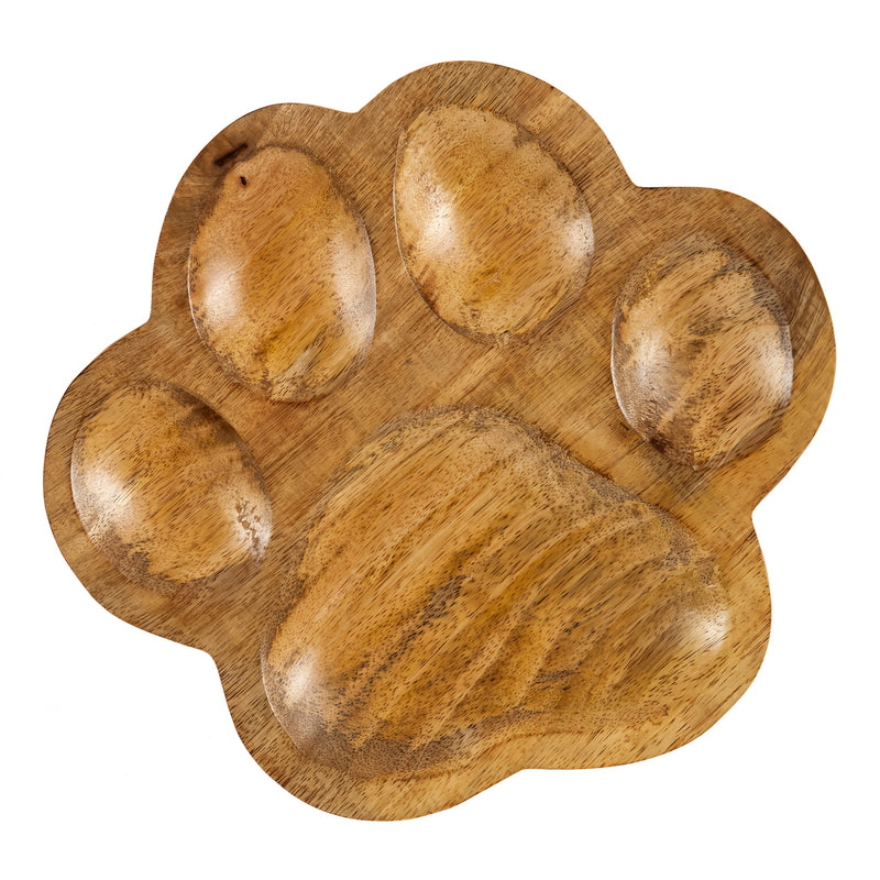 Wooden Pawprint  Table Décor, 10.3'' x 9.3'' x 1'' inches