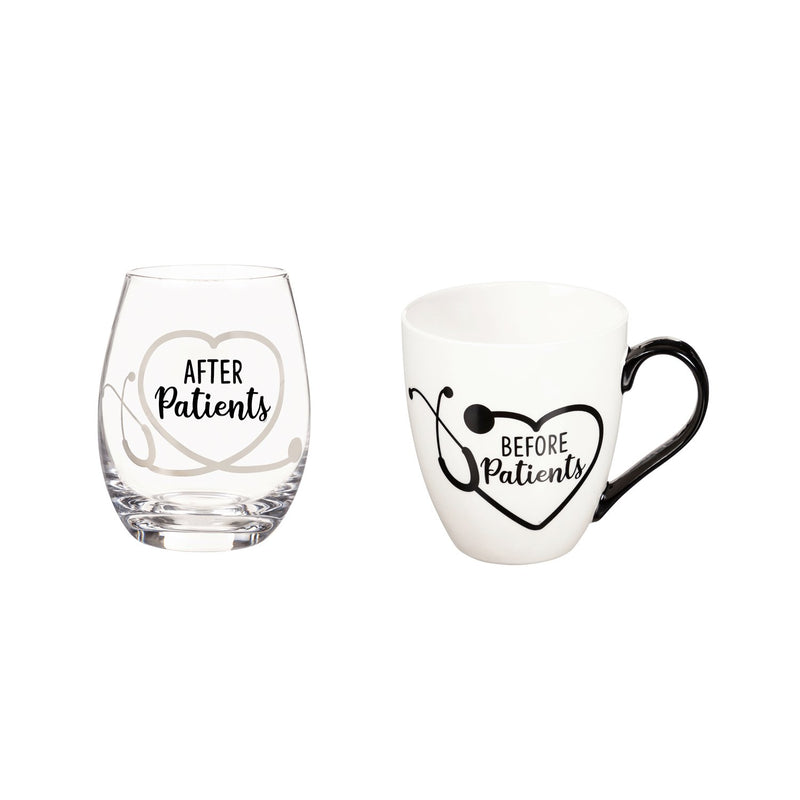 Evergreen Ceramic Cup and Stemless Wine Gift Set, Before Patients & After Patients, 5.75'' x 4'' x 4.5'' inches