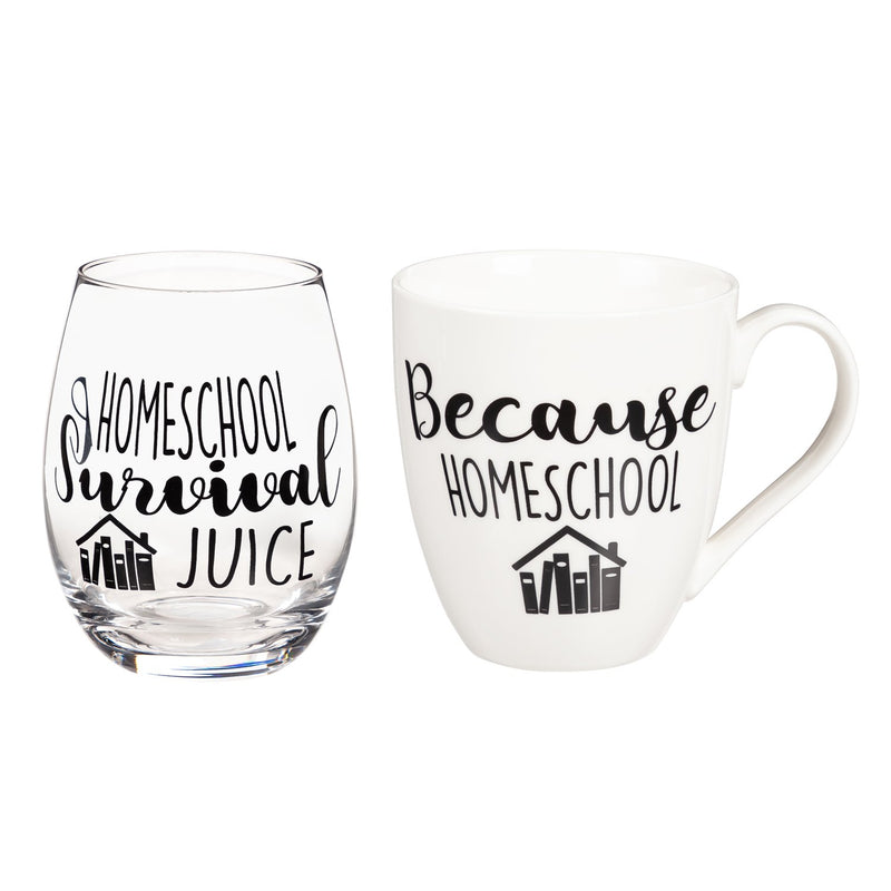 Evergreen Ceramic 17 OZ Cup and Stemless 17 OZ  Wine Gift Set, Because Homeschool/Homeschool Survival Juice, 5.75'' x 4'' x 4.5'' inches