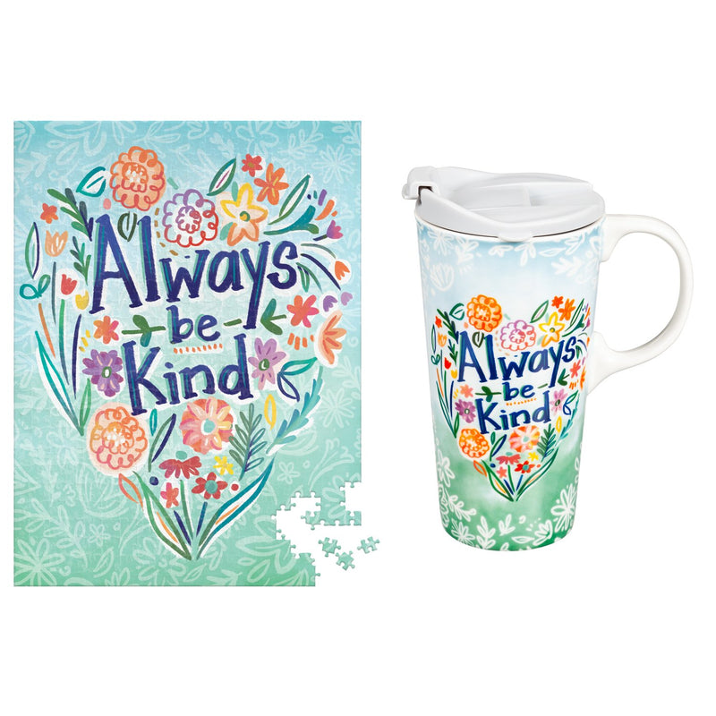 Evergreen Ceramic 17 oz. cup and Puzzle Gift Set, Hope & Kindness, 5.25'' x 3.6'' x 7'' inches