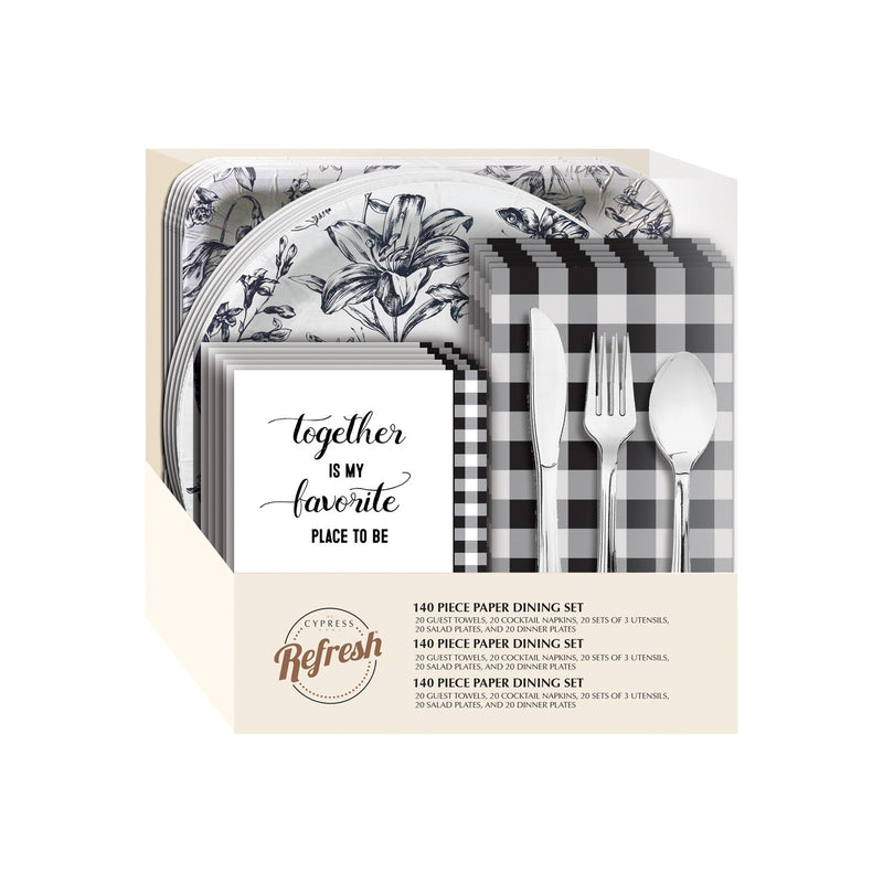Modern Farmhouse Paper Dining Set, 85 Pieces - 10 x 3 x 11 Inches