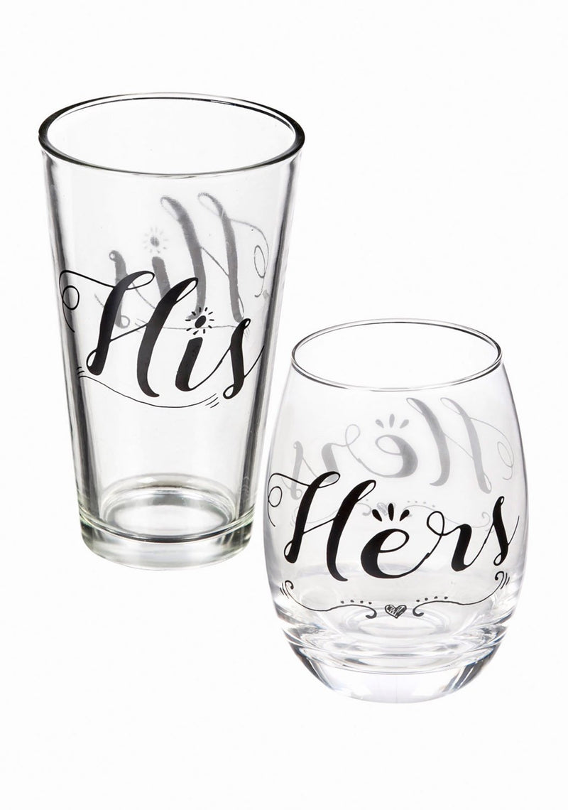 Evergreen Stemless Wine Glass & Beer Cup Gift Set, Hers and His, 3.75'' x 3.75'' x 5'' inches