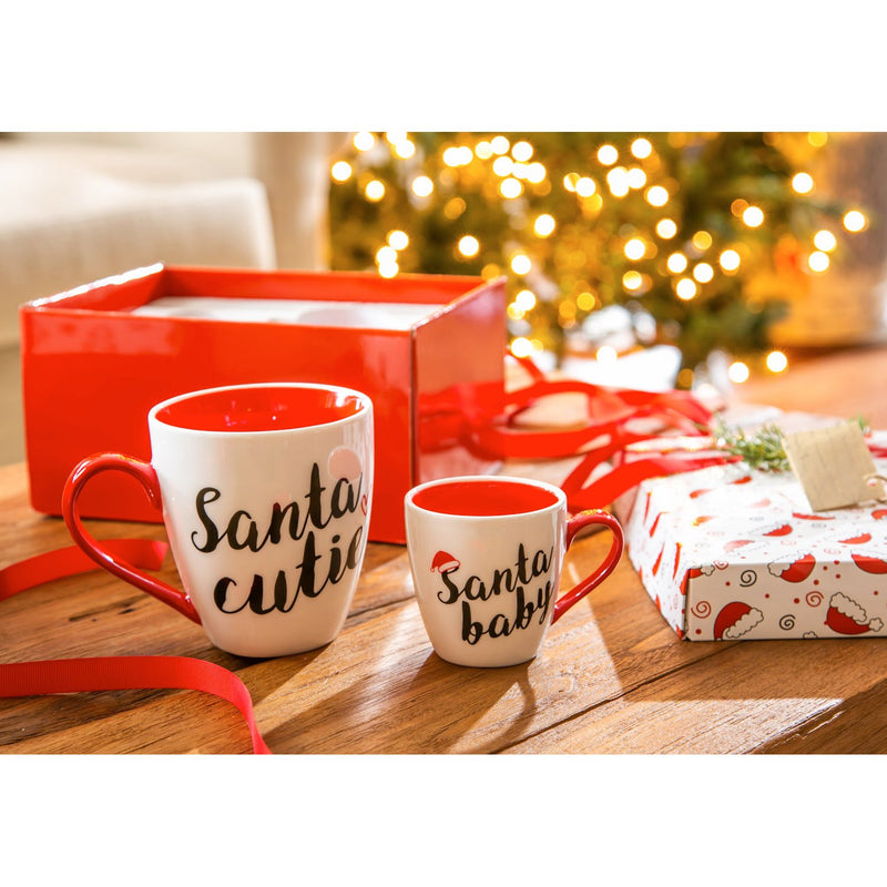Evergreen Mommy and Me Ceramic Cup Gift set, 17 OZ, Santa Cutie and Santa Baby, 9.9'' x 5.04'' x 7.64'' inches