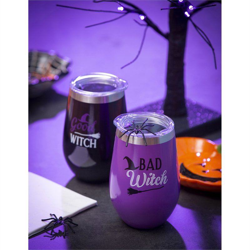 Double Wall Vacuum Wine Tumbler Gift Set, Set of 2, 12 OZ, Good Witch/Bad Witch