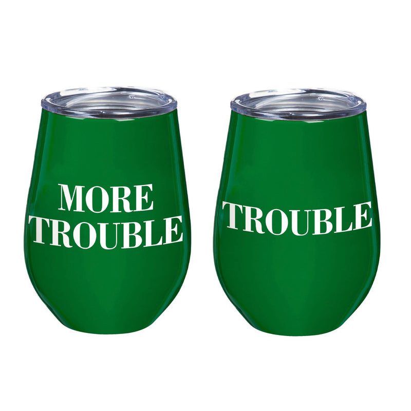 12 OZ Double Wall Vacuum Wine Tumbler Gift Set, Set of 2, Trouble/More Trouble