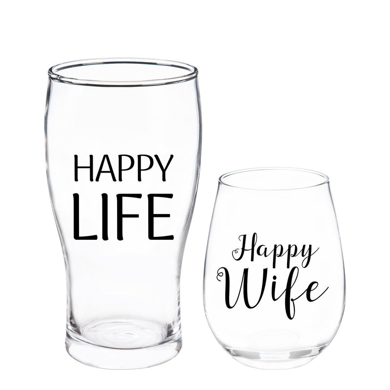 Evergreen Stemless 17 OZ Wine Glass & Beer 16 OZ Cup Gift Set, Happy Wife/Happy Life, 3.75'' x 3.75'' x 5'' inches